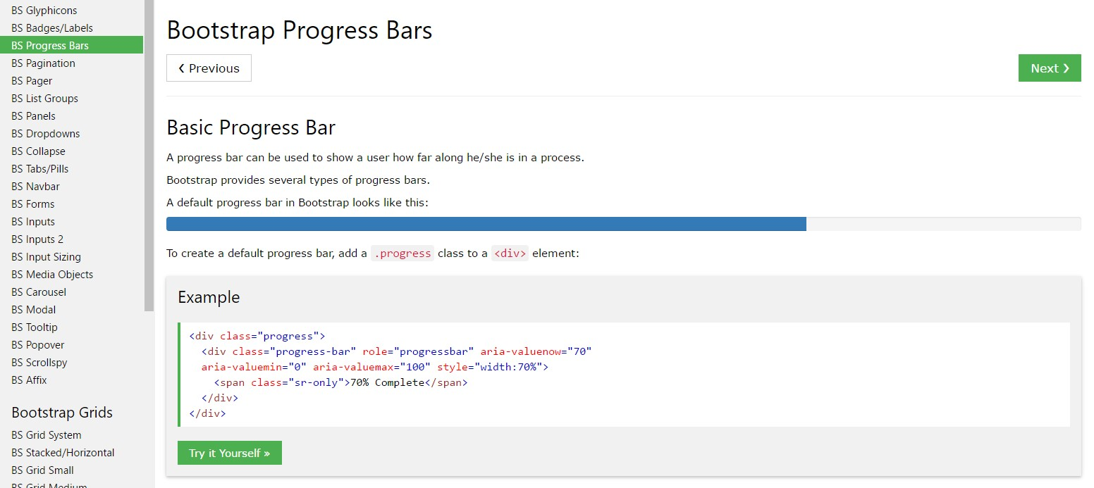 Bootstrap progress bar  information