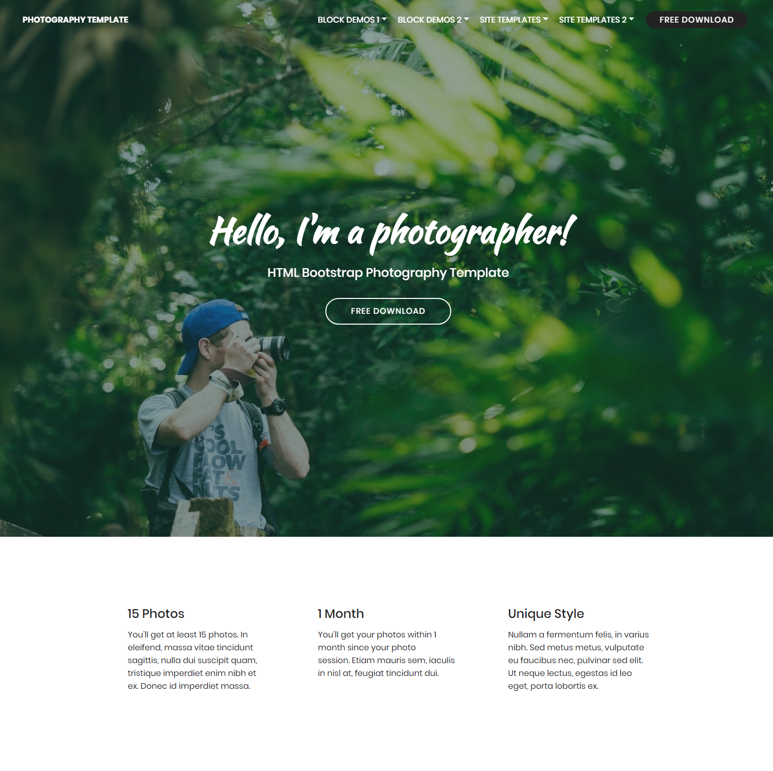 Free Bootstrap Photography Themes
